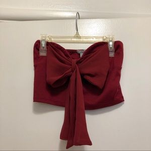 Dark Red Bow Front Crop Top